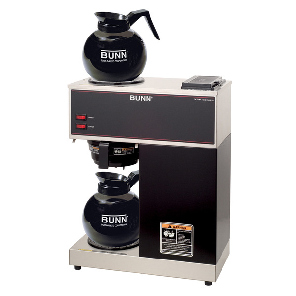 Bunn VPR 12-Cup Pourover Commercial Coffee Brewer with Upper and Lower Warmers and Two Glass Decanters, Black Coffee Machine