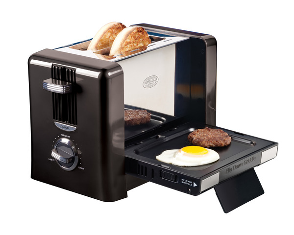Nostalgia Electrics BTG100BLK Flip-Down Breakfast Toaster