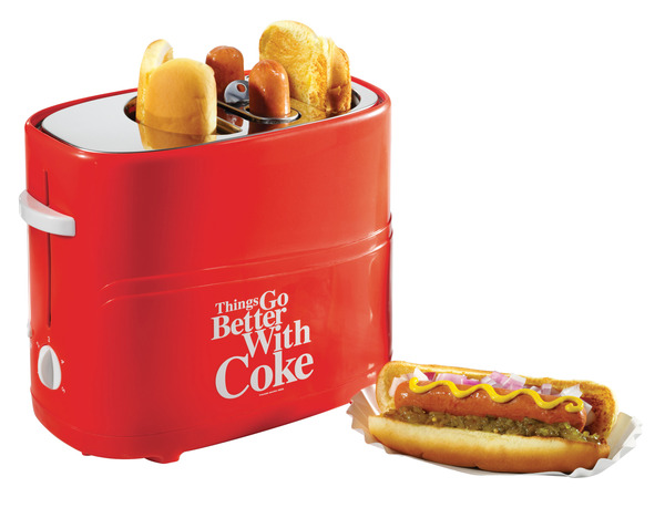 Nostalgia Electrics Coca-Cola Series HDT600COKE Pop-Up 2 Hot Dog Cooker and 2 Bun Toaster, Adjustable Heat, Mini Tongs, Removable Basket and Drip Tray