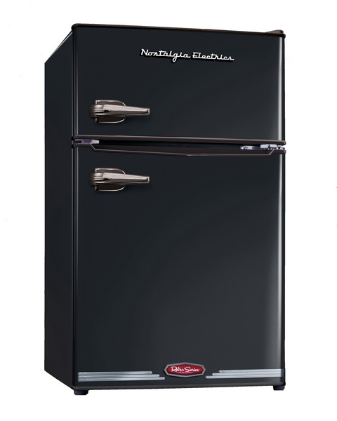 Nostalgia Electrics RRF325HNBLK Retro Series 3.1 Cubic Foot Compact Refrigerator Freezer BLACK, Look and Feel of 1950 Era, Store Beverages and Snacks