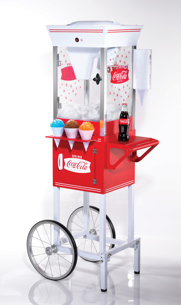 "Nostalgia Electrics Coca-Cola Series SCC200COKE Old Fashioned Snow Cone Cart, 53"" Tall, Shaves 2Lbs 90Sec, 100 Paper Cones, 100 Spoon Straws, 2 Syrups"