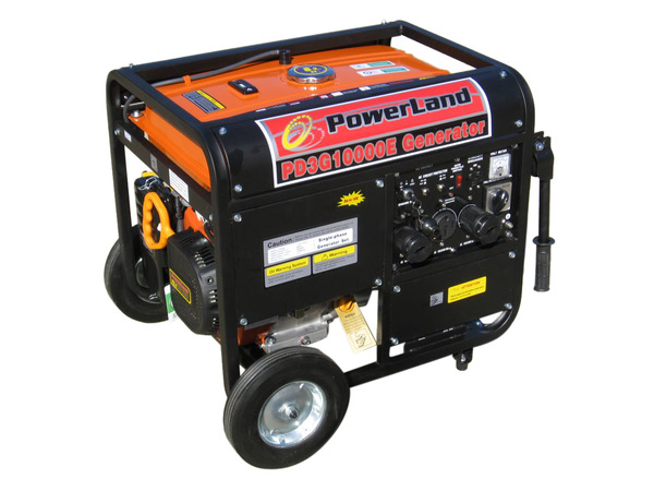 Powerland PD3G10000E Tri-Fuel Generator, 10000 Watts, 120/240V, 60Hz, Gasoline, Propane, Natural Gas, Electric Start, 16HP, Up To 6-10 Hours Run Time