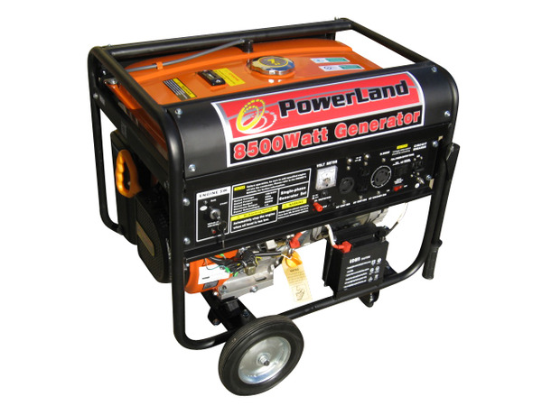 Powerland PD8500E Gas Generator, 7 Gallons, 8500W, 120/240V, 60Hz, 16hp, Electric Starter, Idle Control, 4 Outlets, Up To 7Hours Runtime, 72dB, 220Lbs