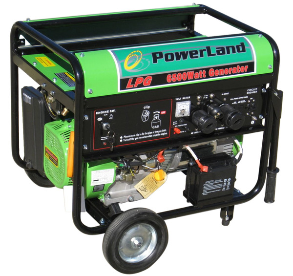 Powerland PDL6500E Propane Generator, 6500W, 120/240V, 60Hz, 16hp, Electric Start, Up To 8hrs Runtime On 20lb Propane Tank, Low Emissions, 72dB