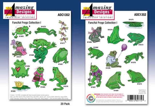 Amazing Designs / Great Notions 1352 Fanciful Frogs Embroidery Multi-formatted CD