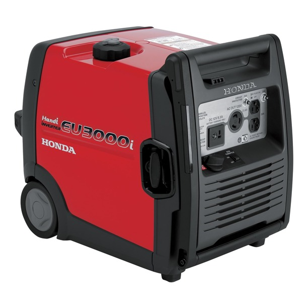 Honda EU3000i Handi Inverter Generator, 3000W, 120V, 25A, 78lbs, Wheels and Handle, Super Quiet 57-65dB, Up To 7.7hr Runtime, Electric Start