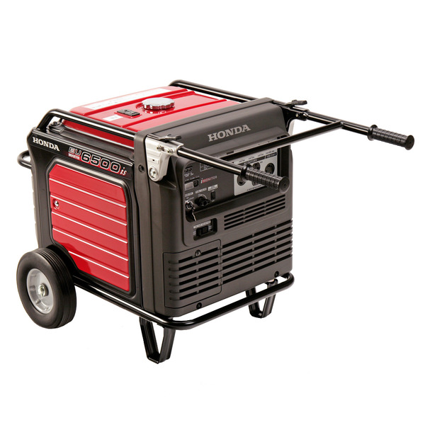 Honda EU6500iS Inverter Generator, 6500W, 120/240V, 260lbs, Super Quiet 60dB, Wheel Kit & Folding Handles, Up To 14hr Runtime, Electric Start