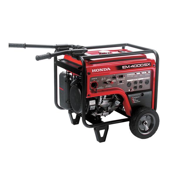 Honda EM4000SX Generator, 4000W, 120/240V, 201lbs, 6.2gal, Electric Start, 71dB, Up To 16hr Runtime, Folding Handles, Wheel Kit, 3 Year Warranty
