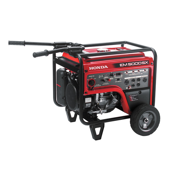 Honda EM5000SX Generator, 5000W, 120/240V AC, 12V DC, 232lbs, 72dB, Up To 11.2hr Runtime, Elec Start, Wheels & Handles, 3 Year Warranty