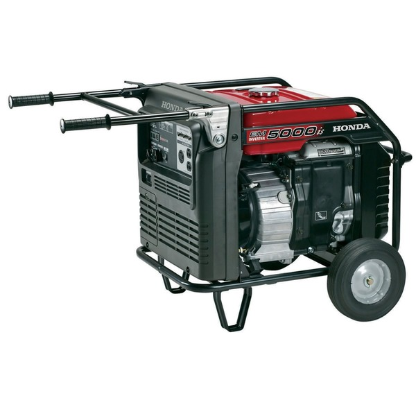 Honda EM5000iS Inverter Generator, 5000W, 223lbs, Quiet 68dB, Up To 15.2hr Runtime, Electric Start, 3 Year Warranty