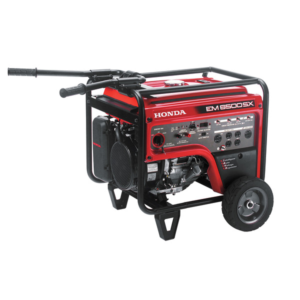 Honda EM6500SX Generator, 6500W, 120/240V AC, 12V DC, 243lbs, 6.2 Gal, 73dB, Up To 10.4hr Runtime, Electric Start, 3 Year Warranty