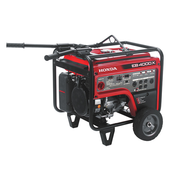 Honda EB4000X Generator, 4000W, 120/240V, 185lbs, 71dB, Wheels, Folding Handles, Lift Hook, Up To 16hr Runtime, 6 GFCI Outlets, OSHA Compliant