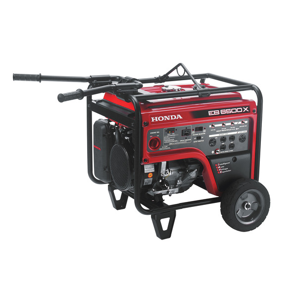 Honda EB6500X Generator, 6500W, 120/240V, 75dB, Up To 10.4hr Runtime, Wheels and Handle, GFCI Outlets, OSHA Compliant, 6 Outlets, 3yr Warranty
