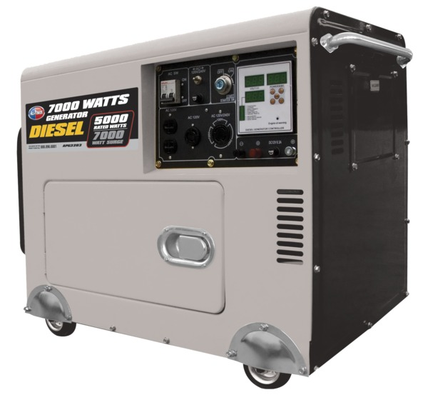 All Power APG3203 6500W Diesel Generator, Digital Control Panel, Electric Start w/Battery, 10HP, 418cc