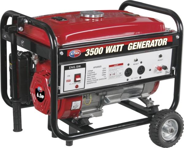 All Power APG3002S 3500W Generator w/Mobility, 120V, 6.5 HP, 196cc