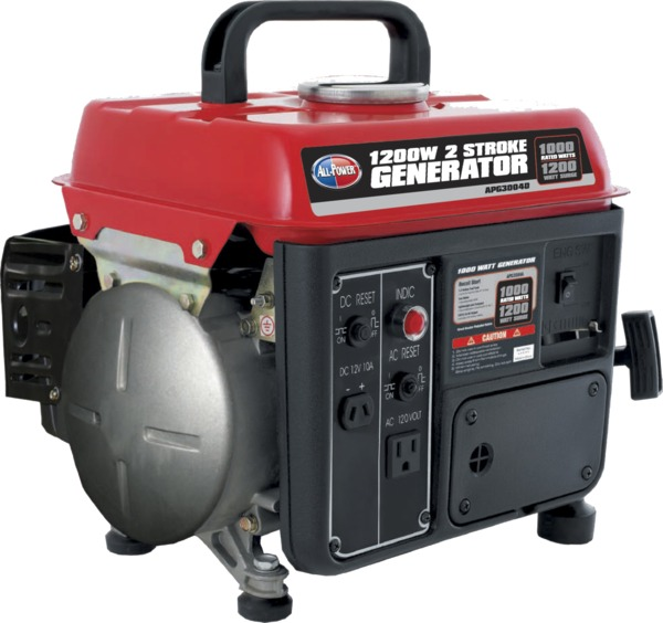 All Power APG3004D 1200W Generator, 2HP, 79cc, 1000W Rated, 2 Stroke