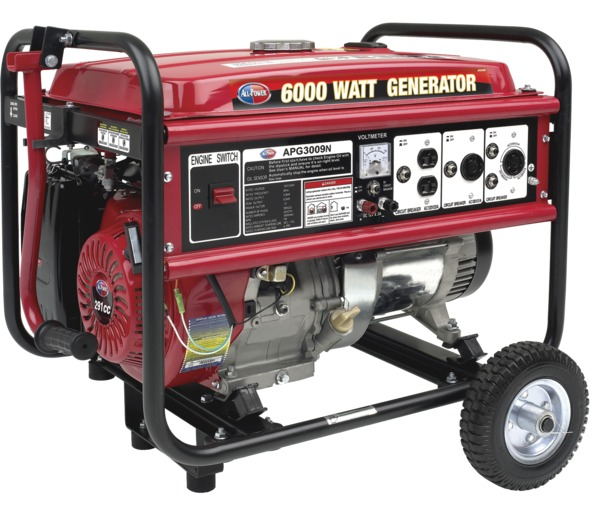 All Power APG3009N 6000W Generator, w/Mobility Kit, 9HP, 290cc, EPA Approved