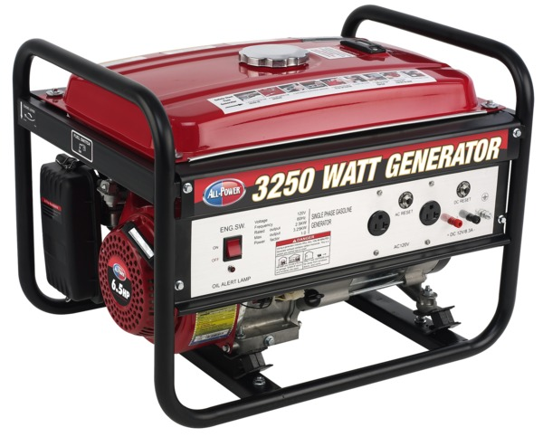 All Power APG3012 3250W Portable Generator, 120V, 12V Output, 6.5 HP, 196cc