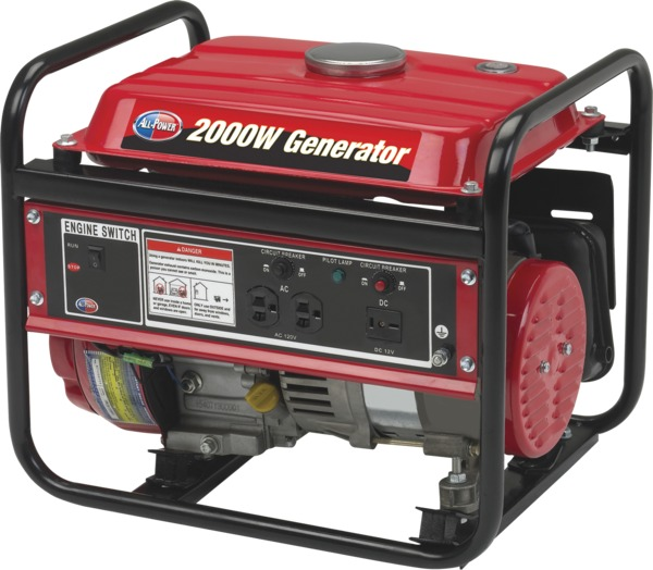 All Power APG3014 2000W Generator, 3 HP, 98cc, 4 Cycle, Open Frame