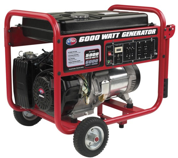 All Power APGG6000 6000W Generator, 9 HP, 291cc, Includes Wheel Kit