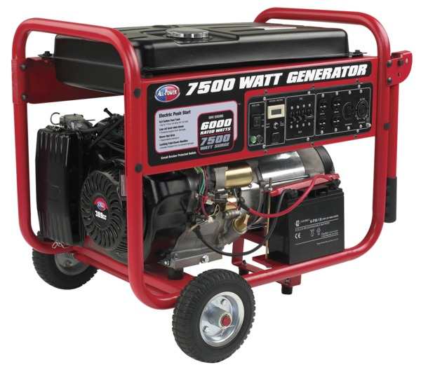 All Power APGG7500 7500W Generator, 13HP, 389cc, Electric Push Start, Includes Battery & Wheel Kit