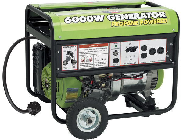 All Power APG3560CN Propane Powered Generator, 6000W, 13HP, 389cc, Electric Start, Mobility Kit. Battery NOT Included