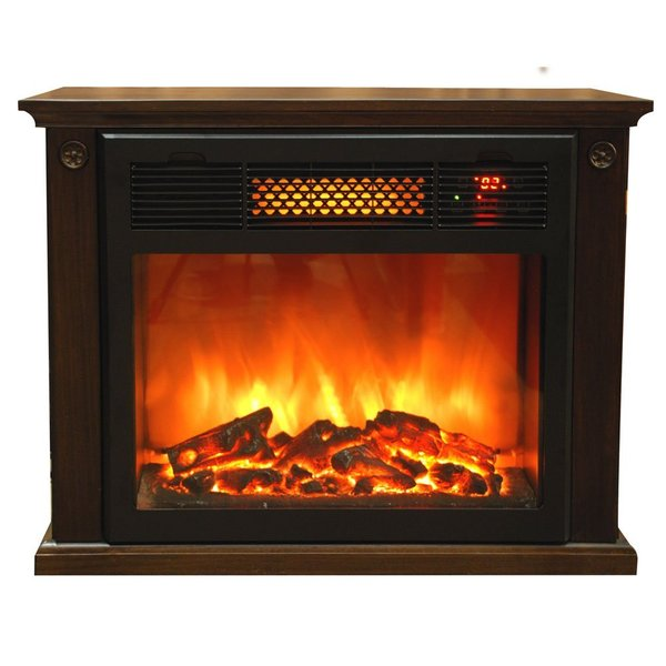 Sunheat TW15FP Electronic Infrared Thermal Wave Fireplace with Digital Thermostat, Heats 700-1000sq ft, All Wood Made in USA, Espresso
