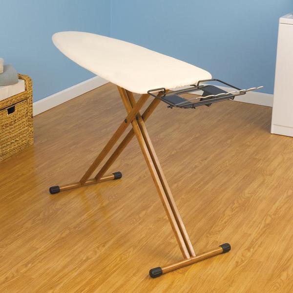 Household Essentials Ironing Board, Bamboo Leg, Wide Top, 35/20*30mm 4 Leg, Bronze iron rest w/hanger bar, 100% cotton cover Natural, 5mm fiber padnohtin