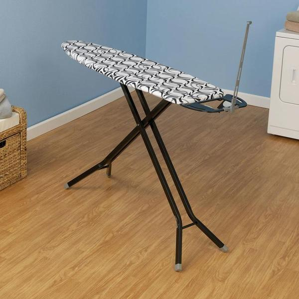 """Household Essentials 865400-1 Ironing Board Ultra 14x54"""" 4-Rectangle Legs, Black, Color Coordinated Leg Caps, Hot Iron Rest, Cordminder, Cotton Covernohtin"""