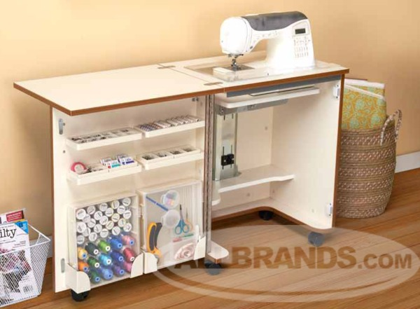Tailormade Compact Sewing Cabinet with 3 Position Lift Choose: White (C-W001 White) or Teak (HS-C58) Finish