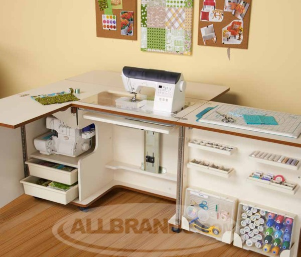 Tailormade Eclipse Sewing and Serger Cabinet with Largest 3 Position Lift Platform Choose White (E-W001) or Teak (E-T001)