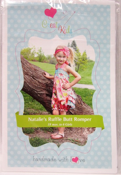 Create Kids Couture Natalie's Ruffle Butt Romper Pattern in Sizes 18mo, 2T, 3T, 4T, 5T, and 6