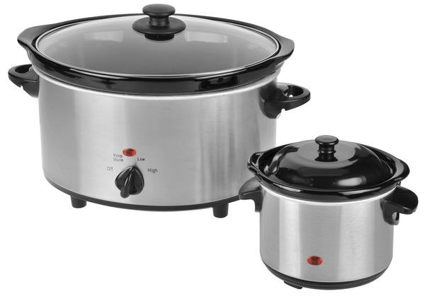Kalorik 4.75QT Stainless Steel Slow Cooker + 0.75QT Dipper SC 37175 SS