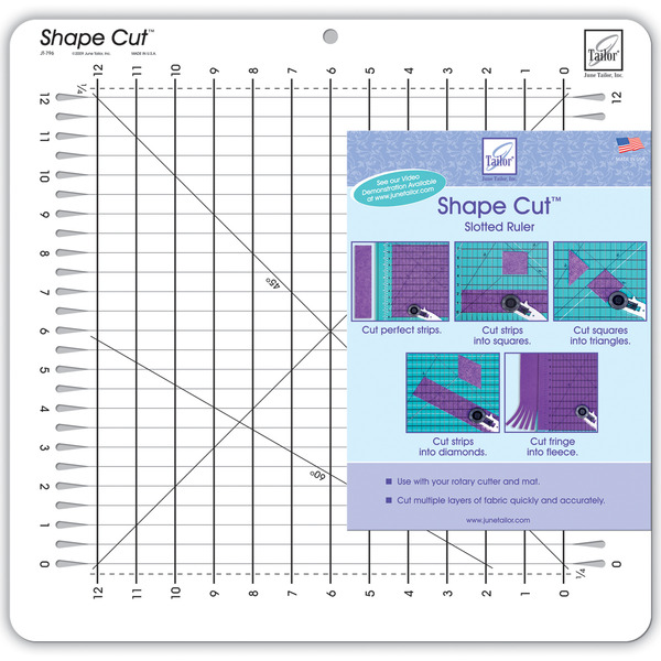 "June Tailor JT796 12"" x 12"" Shape Cuts Ruller Cutting Mat Cuts, Ideal for Cutting 1/2"" Stripsnohtin"