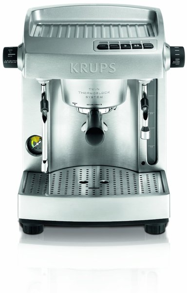 Krups XP618050 All Metal Twin Thermoblock Espresso Machine Full Stainless Steel Silver, 100oz Water Fank, Programmable Features