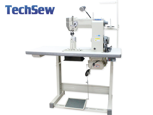 "TechSew 830-2 Double Needle 7""H Post Bed Roller Feed Sewing Machine, Roller Foot +Power Stand Servo Motornohtin"