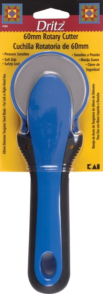 Dritz 1060 60mm Rotary Cutter by Kai, Softgrip Handle reduces wrist and hand strain, Tunsten-Carbon Steel Blade double honed for maximum sharpness