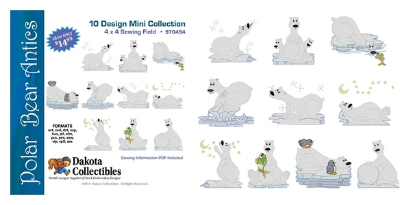 Dakota Collectibles 970494 Polar Bear Antics Multi-Formatted CD Embroidery Machine Designsnohtin