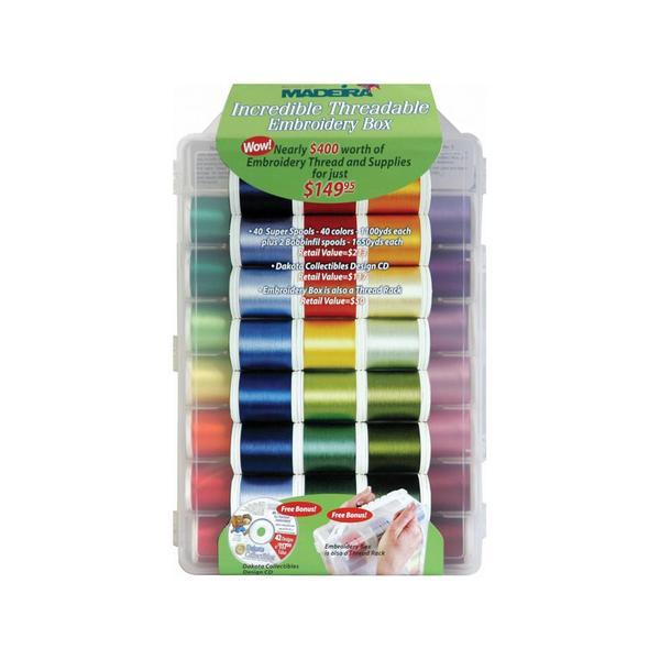 Madeira 8042 Incredible Threadable 40x1100Yd Rayon Embroidery 40wt Cylinder Threads Kit, 42 Designs CD, 2 Bobbin Thread Spools x 1650 Yards, 5 Needlesnohtin