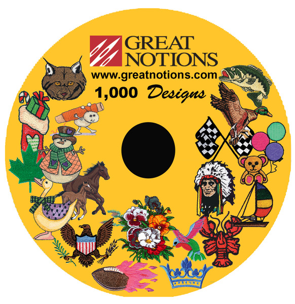 "Great Notions 1000 Embroidery Designs CD Collection 4x4 & 5x7"" See All*nohtin"