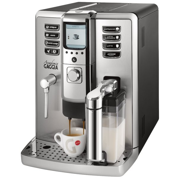 "Gaggia Accademia Espresso Coffee Maker Machine, 2 Boilers 15Bar, Froth, 7Beverages, Dispense to 6.5""H, Stainless Steel Panel, Top Water & Beans, 43Lbsnohtin"