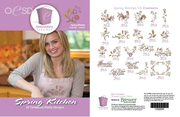 OESD 12325H Spring Kitchen Design Collection Multiformat Embroidery Design CD