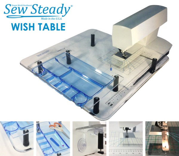 "Sew Steady SST-Wish Portable Sewing Machine Extension Table 22.5x25.5"" with USB Light Stick, Notions Tray, Circles Tool, Grid, Table Lock,nohtin"