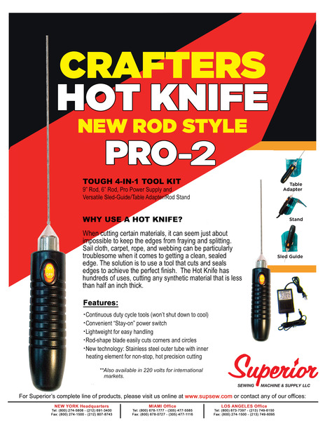 """Superior PRO-2 Crafters 6-9"""" Hot Knife, Rod, Power Supply, Sled Guide, Table Adaptor, Standnohtin"""