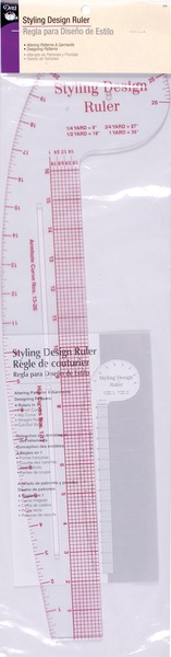 "Dritz D832 Styling Design 22"" Ruler 4in1 Fashion French Curve, Hip Curve, Straight, Cut-Out Slotsnohtin"