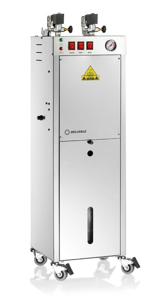 "Reliable 9500BU Automatic Boiler Only Iron Station, 2 Solenoid Valves, 11.5x11x39"" 1200W, 5L, 80 PSI, 5.5 Bar Pressure, 2 Valves for Optional Irons*nohtin"
