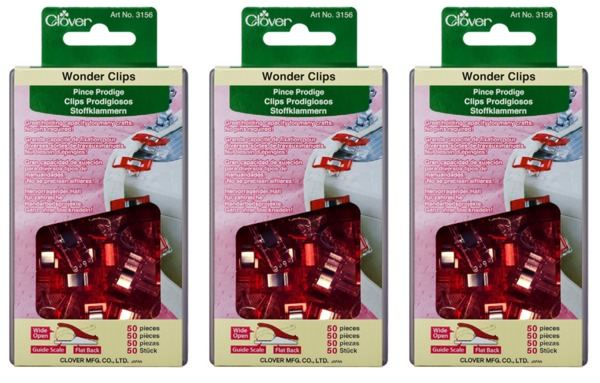 Clover CL3156 Jumbo Wonder Clips Box of 150 Clips, for Seams, Quilt Bindings, No Pins!nohtin