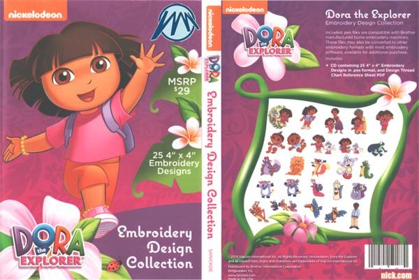 Brother Nickelodeon SANICKDE Dora Explorer .pes Embroidery Designs CDnohtin