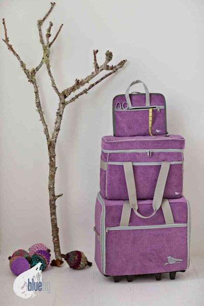"Bluefig DS19"" Designer Combo Wheeled Sewing Machine Case Roller Bag Trolley, Sewers Tote Bag, Notions 12 Pocket Bag, Choose from 5 Colorsnohtin"