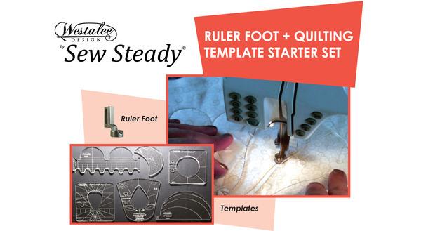 "Westalee WTStarter Set Ruler Foot, 7 Templates, 4&12"" Arc, SpinEfex4, Spinning Wheels, Clamshell, 2"" Circle, Stable Tape, Spacing Gauge +51Pg Ebook *nohtin"